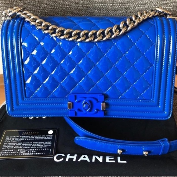 CHANEL Handbags - Chanel le boy medium blue patent